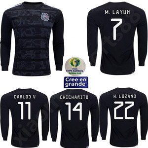 Wholesale mexico futbol resale online - 2019 Copa America Mexico Soccer Jersey CHICHARITO Camisetas de futbol H LOZANO G DOS SANTOS GUARDADO man Long sleeve football shirts
