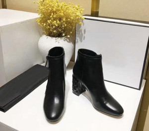 Wholesale Orignal Box Luxury Designer Womens Ankle High Heel CM Autumn Winter Boots Cow Leather Shoes Size