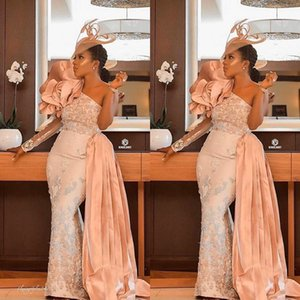 Wholesale Lace Beaded Sexy Prom Dresses with Detachable Train 2020 Blush Pink Arabic Aso Ebi Mermaid One-shoulder Occasion Evening Gown