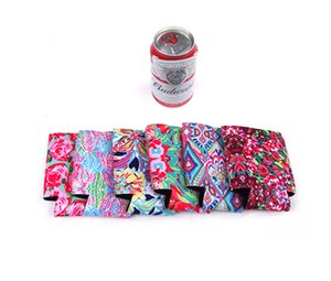 Wholesale 13 cm Colorful Lily Neoprene Can Holder Resuable Flower Pattern Beer Cup Sleeve Printing Regular Bottle Cooler Coral Bottle holders