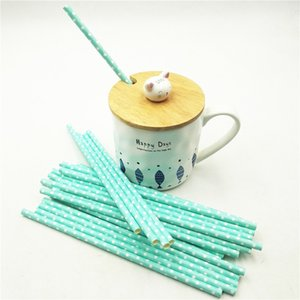 HOT25pcs lot Blue Point Paper Drinking Straws Tubes Hawaiian Christmas Decorations Baby shower Birthday Straw Christmas Supplies