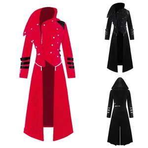 Wholesale Drop shipping OEAK Coat autumn and winter Mens Gothic Steampunk Hooded Trench Parka Party Costume Tailcoat Jacket