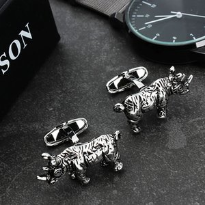 Wholesale HAWSON Men Funny Rhinoceros Cufflinks for Men Shirt Jewelry Cuff Links With Gift Box