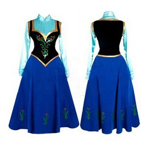 Wholesale New Princess Anna Made Cosplay Costume For Adult Women With Cloak Coronation Dress Drop Shipping