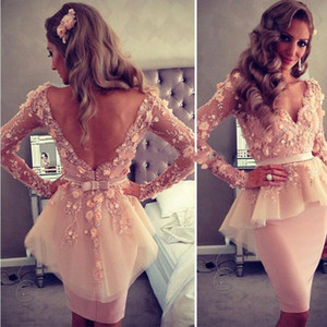 Wholesale Stunning Sheath Knee Length Prom Dresses with Long Sleeve Backless Lace Appliques Cocktail Party Dress Satin Short Evening Wears