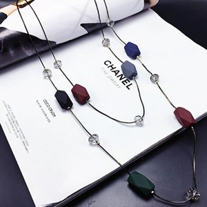Wholesale Concise Double Layers Geometry Beads Long Necklace Women Ornament Sweater Jewelry Multilayer Long Chain Necklaces for Women