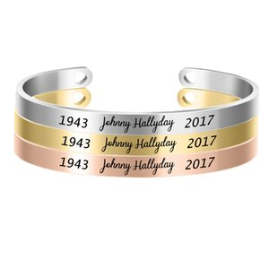 Wholesale 10PCs Customized MM Bangle Personalize French Rocker Johnny Hallyday Memorial Stainless Steel Bracelets Bangles SL