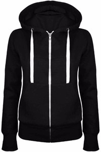 Hoodies Sweatshirt Ladies Women Men Coat Top NEW 5 Colors Unisex Plain Zip Up Hooded Zipper