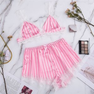 Wholesale transparent pajamas resale online - Silk Pajamas Sexy Satin Lingerie Set Summer Stripe Lace Shorts Set Women Underwear Sleepwear S XXL Transparent Party CD