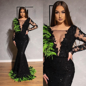 2019 Black Long Sleeves Prom Dresses Sexy See Through Sheer Deep V Neck Mermaid Dresses Feather Lace Appliques Pageant Gowns on Sale