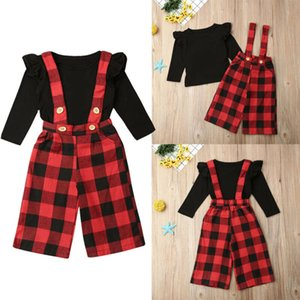2019 Baby Spring Autumn Clothing 2Pcs Newborn Infant Kids Baby Girl Long Sleeve T-shirt Plaid Strap Bib Pants Xmas Outfit Set