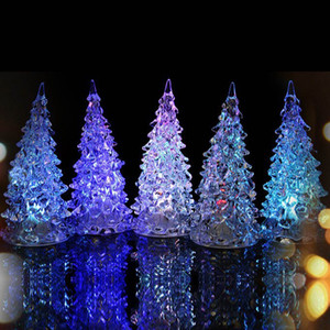 Wholesale 2019 Acrylic LED Christmas Tree Luminous Colorful Lights Home Decor Christmas Lamp Accessories Flashing Xmas Tree Desk Ornaments