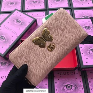 Wholesale yuancheng3 Butterfly hardware decorative wallet nude pink Women Long Wallet Chain Wallets Purse Clutches Evening Key Mini Belt Bags