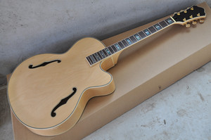 Factory Custom Natural Wood Color Semi-finished Electric Guitar with Rosewood Fretboard,Abalone Inlay,Can be Customized guitars guitarra