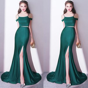 Wholesale Elegant Green Off Shoulder Evening Dress Stain Two Pieces Split Floor Length Prom Dress Mermaid Mother Of Bride Dresses