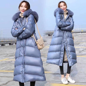 2019 New Winter Women Thick Warm Large Natural Fur Long Coats Ladies White Duck Down Hooded Jackets Casual Loose Parkas C138
