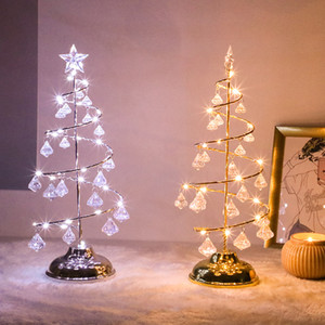 ingrosso tavoli albero di natale-Crystal LED LED Christmas Tree Light Table Desk Lamp Fata Soggiorno Night Lights decorativi per la casa Bambini Regali di Capodanno