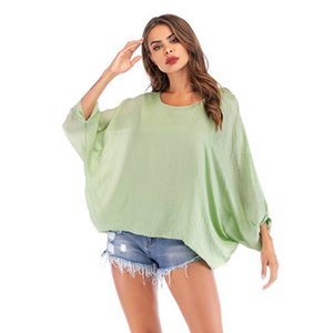 Wholesale 2019 European and American women s round neck loose solid color women s T shirt New simple wild bat sleeve shirt women