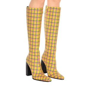 Wholesale Abesire Women Spring New Yellow Gingham Square High Heels Knee High Boots Ladies Round Toe Side Zipper Dress T stage Shoes