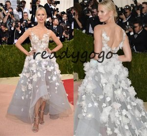 Met Gala Karolina Kurkova Red Carpet Celebrity Evening Dresses 2020 High Low Organza Prom Dresses with 3D Floral Appliques Vintage Backless on Sale