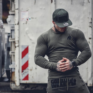 Muscle Euro-American Fitness Brothers New Sports Leisure Long Sleeve T-shirt Men's Cotton Elastic Sleeve Pullovers