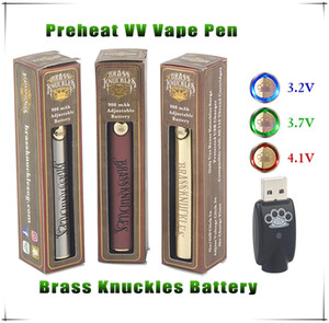 Wholesale 1pcs Brass Knuckles Vape Battery Wood Gold SS Vaper Pen mAh Thread eVod Adjust Volt Preheating