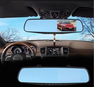 Wholesale Full HD P Car Dvr Mirror Dual Camera quot Dash Cam Recorder Rearview Cameras Parking Rear View Dual Lens Video Camcorder