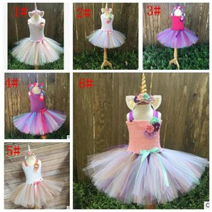 Wholesale Kids Girls Outfit Tutu Dress Rainbow Party Princess Cosplay Costume Unicorn party Dress without hearband p