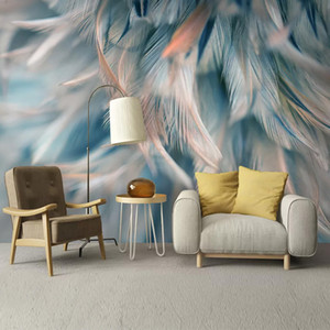 Wholesale Custom Mural Wallpaper D Color Feather Fresco Living Room Bedroom Home Decor Backdrop Wall Painting Modern Art Papel De Parede