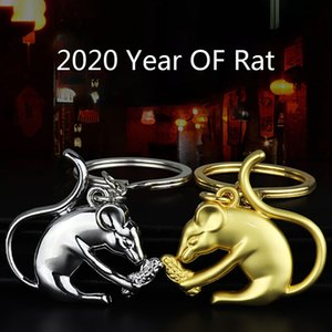 Retro Copper Feng Shui Mouse Key Rings Hanging Jewelry Brass Rat Chinese New Year Lucky Gifts Metal Car Keychains Fashion
