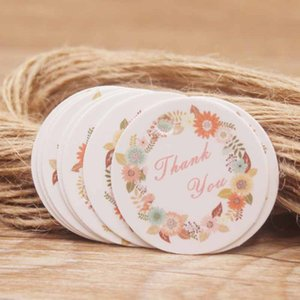 Wholesale 200pcs tag string rose printing paperboard tag cute design price tag label jewelry display cards round white kraft paper