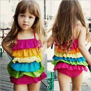 Wholesale Children girls Candy colors rainbow Swimwear summer Cake layered Bikini Kids Six layers Flounced Swimsuit B11