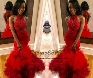 Wholesale Yousef Aljasmi African Black Girl Plus Size Red Mermaid Prom Dresses Party Wear sexy Girls Pageant Evening Dresses Abendkleider sweep train