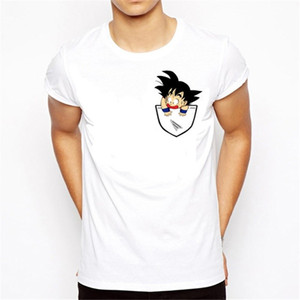 Wholesale New Mens Summer T Shirts Dragon Ball Z Super Son Goku High Quality Cotton Black White Mens Top Quality Short Sleeve S XL