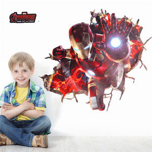 3d Effect Iron Man Hero Through Wall Stickers For Kids Rooms Nursery Wall Art Decals Decor The Avengers Wallpaper Diy Poster