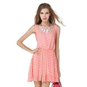 Wholesale 2017 Women Dress Summer Sexy Cute Polka Dot Sleeveless Fashion Pink Mini Plus Size Backless Party Club Work Bow Vestido
