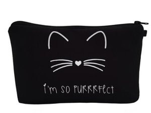 Wholesale Hot Cosmetic organizer bag Pure black Cute cat prints Cosmetic Bag Fashion Women Brand makeup bag