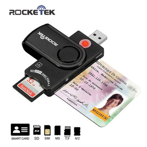 Wholesale Rocketek USB multi Smart Card Reader SD TF MS M2 micro SD memory ID Bank card sim cloner connector adapter pccomputerMulti function