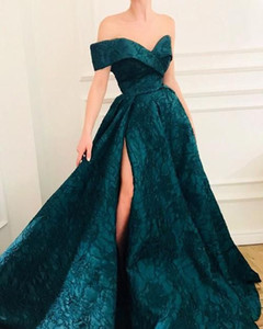 Wholesale dubai gold patterns resale online - Hunter Green Slit Evening Formal Dresses Off Shoulder Sexy Puffy Skirt Lace Pattern Sweep Train Princess Dubai Occasion Prom Gown