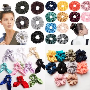 Wholesale Multi Colors Hair Scrunchy Ring Elastic Hair Bands Pure Color Flower Flamingo plaid Large intestine Sports Dance Scrunchie Hairband