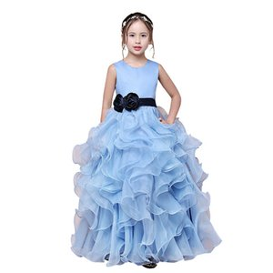 Wholesale Jewel Neck Organza Ball Gown Flower Girl Dress with Ruffles 2019 Floor Length Communion Dress Kids Gowns