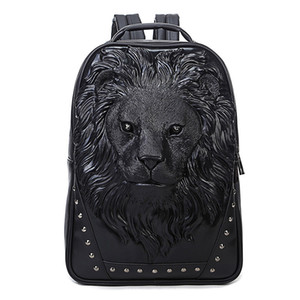 Wholesale designer backpack Punk package designer luxury contracted back pack fashion cool bags USA styl Lion head embossed bag BRW