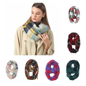 Wholesale Plaid Ring Scarf Colors Grid Infinity Shawl Wrap Loop Scarf Knitting Striped Headscarf Women Neckchief LJJO7151