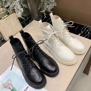Wholesale 2019 Fashion Autumn New Martin Boots Female British Wind Retro Locomotive Thick Soled Leather Lace up Flat Boots Women