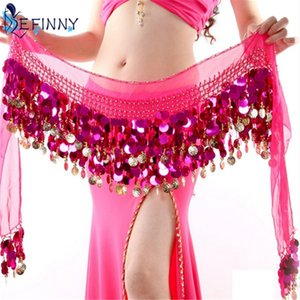 Wholesale 2018 Sexy Chiffon Belly Dance Hip Scarf Coins Sequin Waistband Belt Skirt Hip Wrap New Arrival