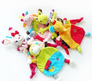 Wholesale 5Style Newborn Infant Baby Soft Towel Soft Skin Deer Cat Frog Monkey Elephant Comfort Appease Plush Rattles Toy Animals Comforting Blanke C3