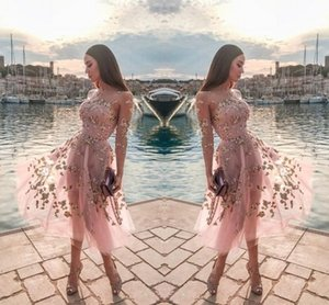 Wholesale Pink Tulle Tea Length Party Dresses Sheer Neck Long Sleeves Lace Appliques Formal Party Short Prom Evening Gowns Women Casual Dress
