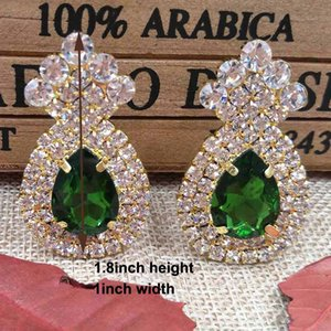 Wholesale zerongE jewelry Mulit colorTeardrop silver Earrings for lady gold green royal blue yellow red fushia color rhinestone earring