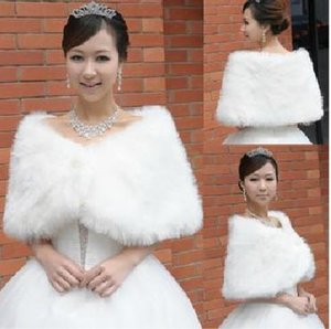 Wholesale luxury In Stock white Faux Fur Wedding Bridal Winter Wrap Shawl Scarf Cold Weather Coat