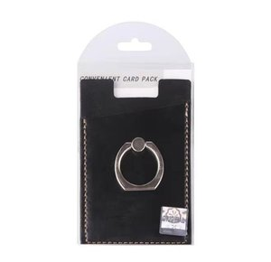 Wholesale PU Leather Cell Phone Wallet Pocket Pouch Card Holder With Ring Stand for Mobile Devices Adhesive Sticker Back With Retail Packaging